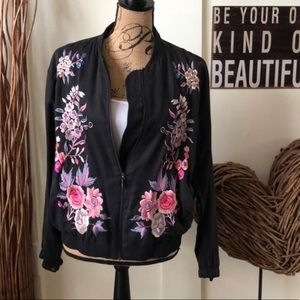 A. moss embroidered zip up jacket black gray S